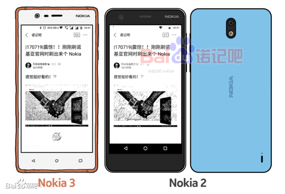 Nokia 2 leak sketch front and rear
