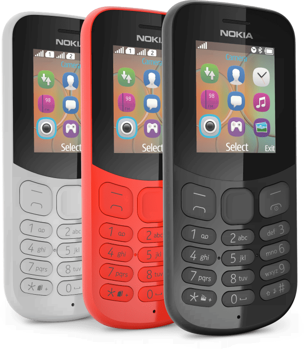 Nokia 130 in Red, White and Black
