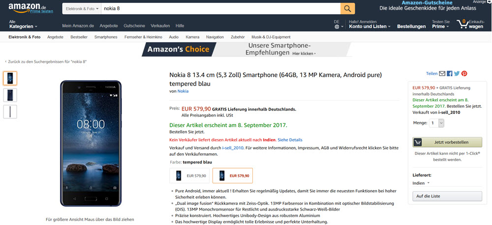Nokia 8 pre-order at Amazon.de