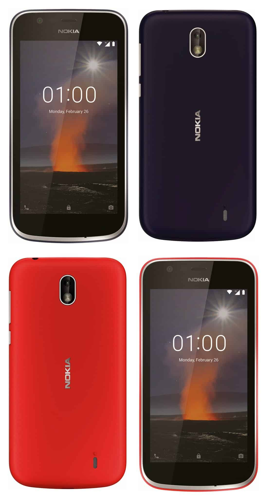Nokia 1 in Red and Black color