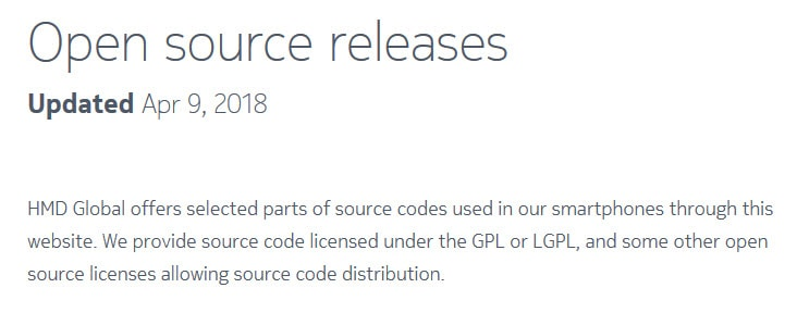 soruce code release by HMD Global