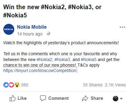 Nokia contest to Win Nokia 2.1, Nokia 3.1, Nokia 5.1