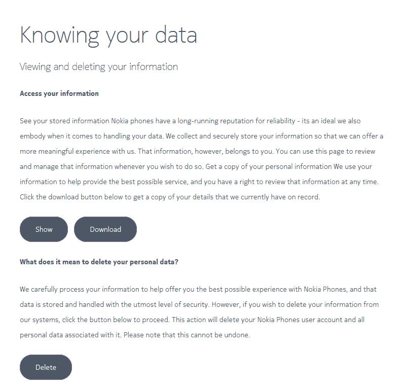 Download or Delete data - Nokia phones