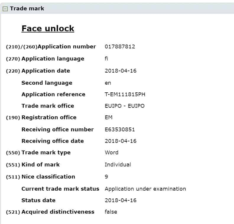 Face Unlock trademark filing status by Nokia HMD Global