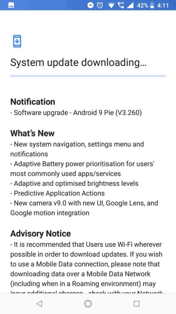 Nokia 6.1 Android Pie update