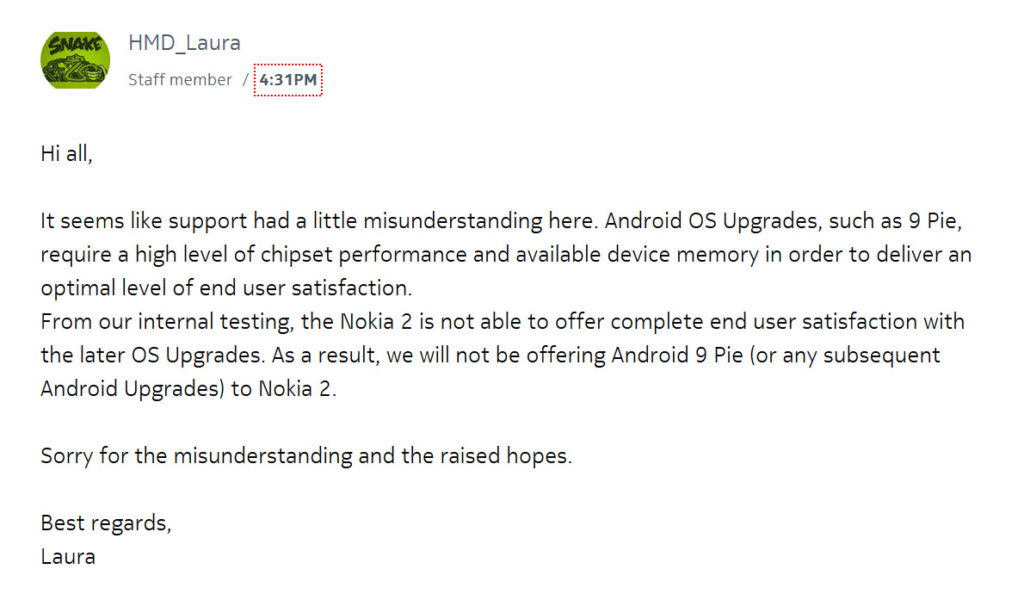 Nokia Community reply
