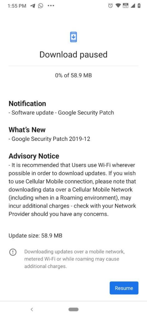 Nokia 7.2 December 2019 Android security patch