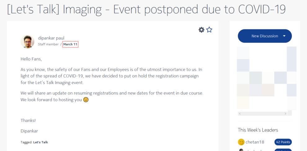 Let's Talk Imaging event postponed